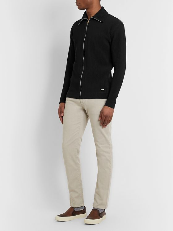 Dunhill Ribbed Stretch Cotton-Blend Zip-Up Sweater