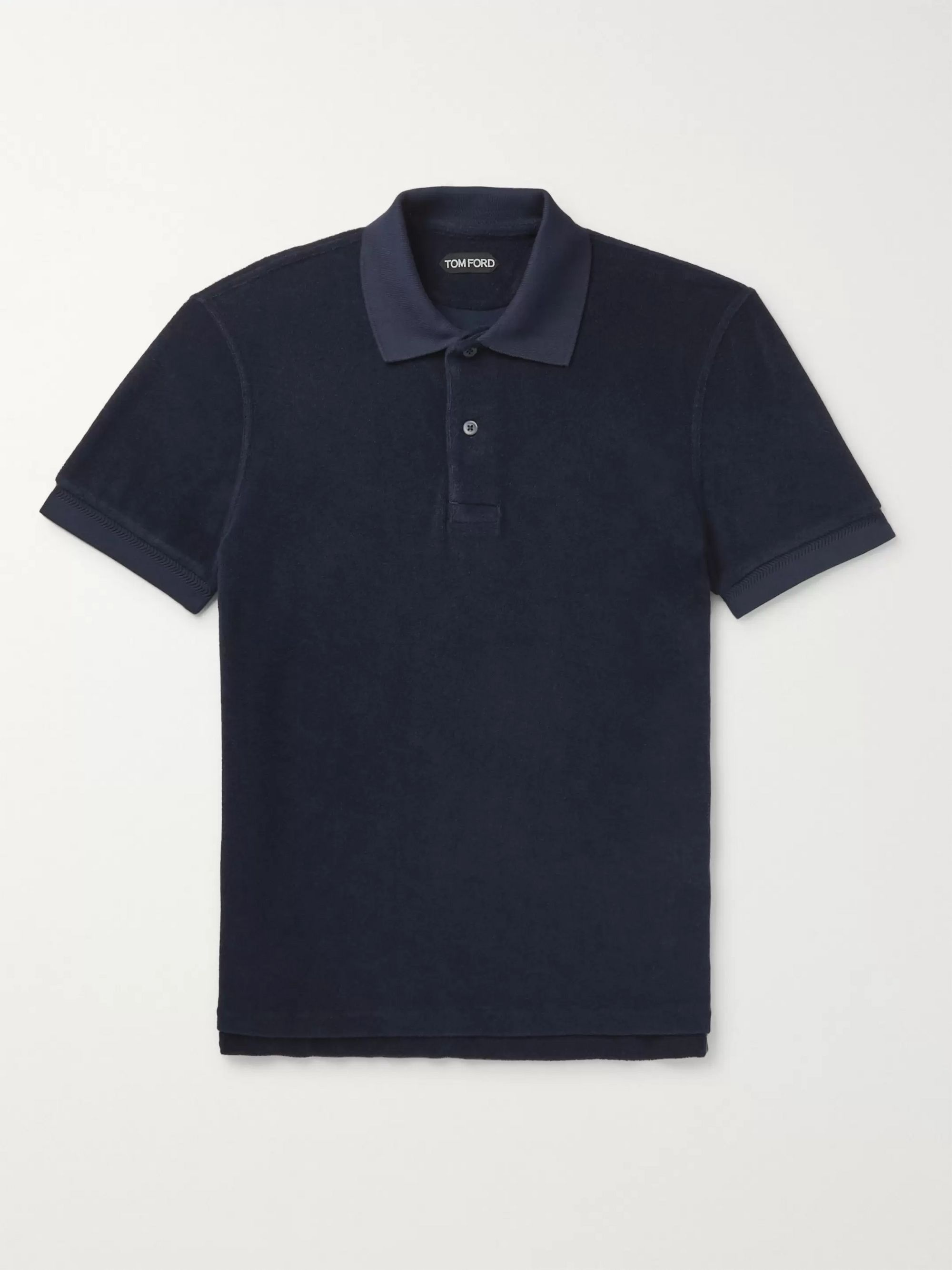 TOM FORD Slim-Fit Logo-Embroidered Cotton-Terry Polo Shirt
