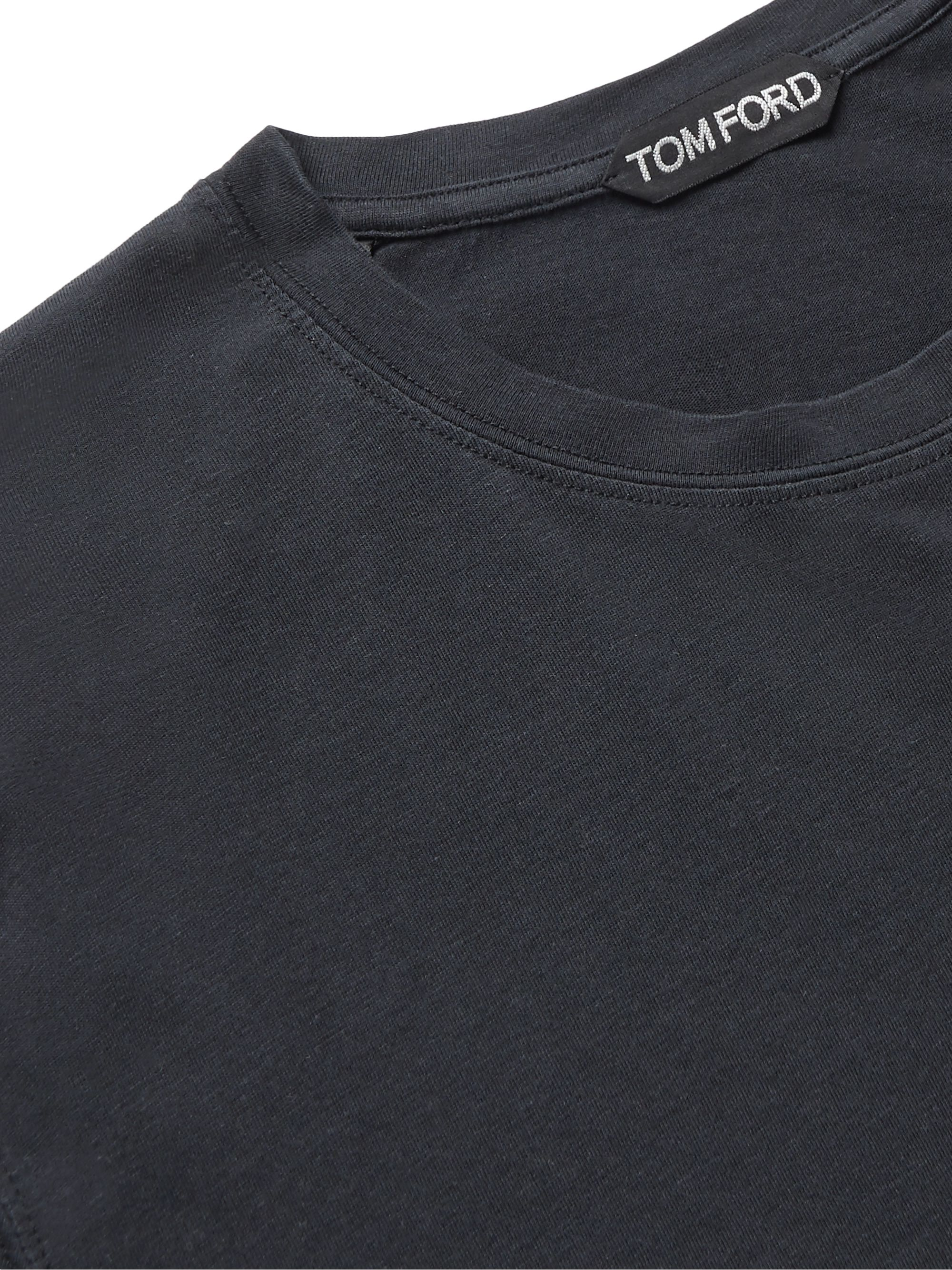 Black Lyocell And Cotton-blend Jersey T-shirt | Tom Ford