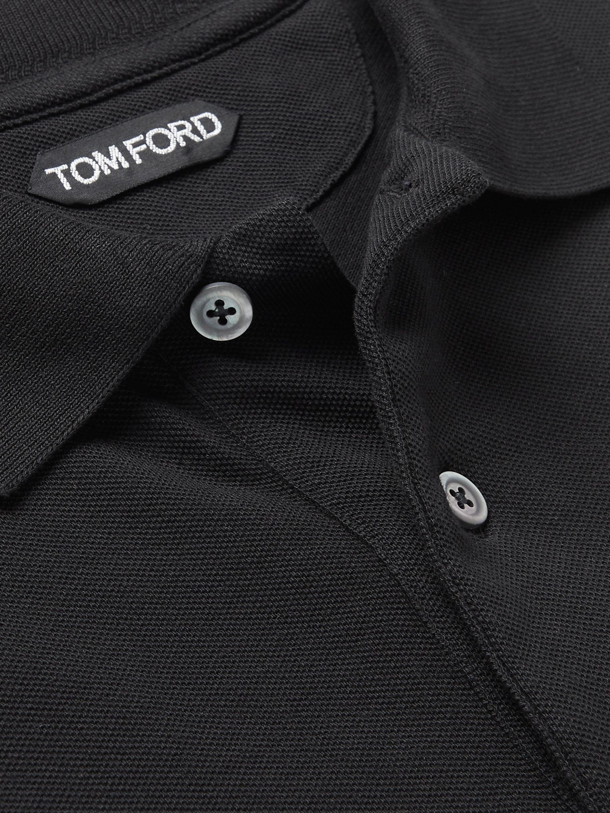 Black Slim-fit Cotton-piqué Polo Shirt | Tom Ford