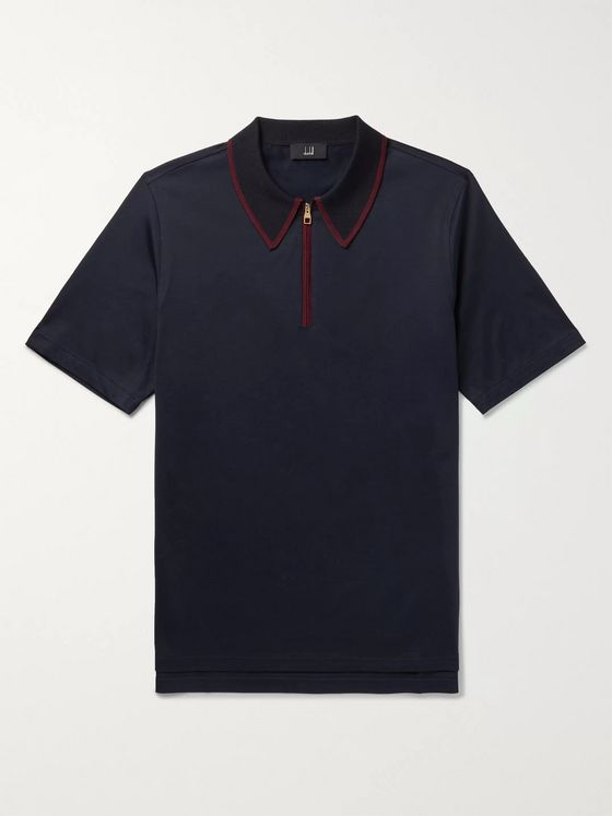Dunhill Contrast-Tipped Cotton-Jersey Polo Shirt