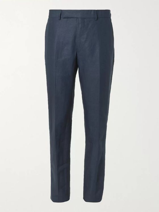 DUNHILL Slim-Fit Linen Suit Trousers