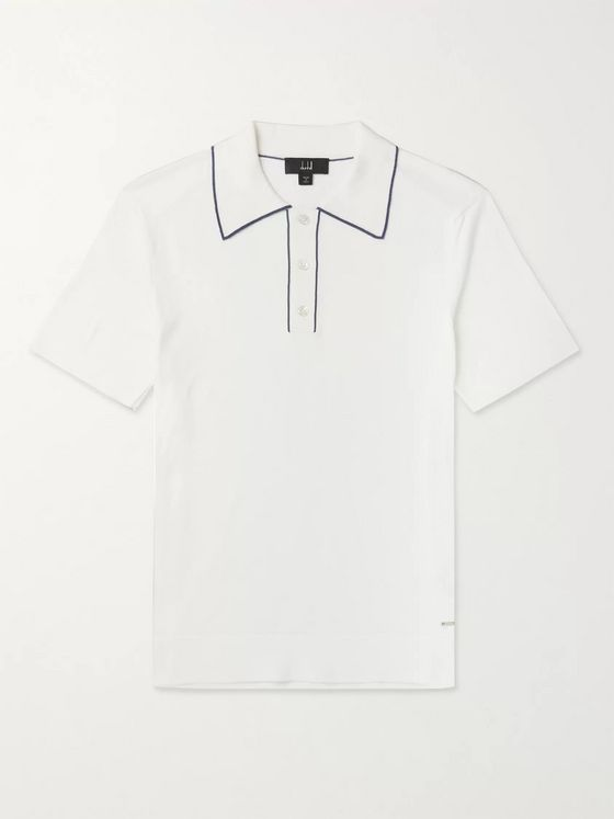 Dunhill Contrast-Tipped Pima Cotton-Jersey Polo Shirt