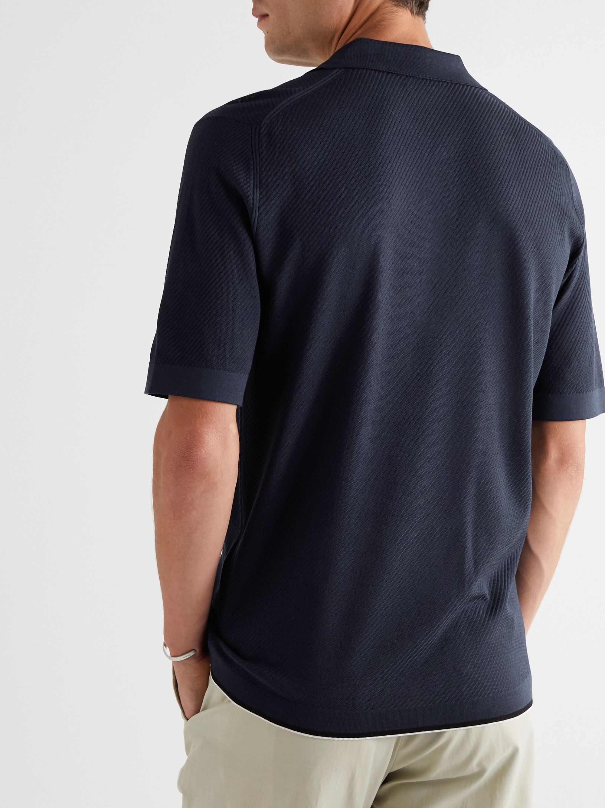 Dunhill Contrast-Tipped Ribbed Mulberry Silk Polo Shirt
