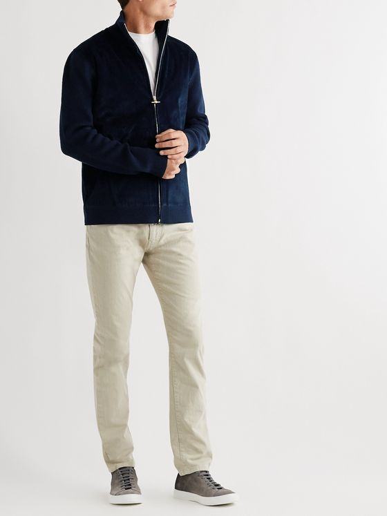 DUNHILL Panelled Cotton-Blend Corduroy and Merino Wool Zip-Up Cardigan