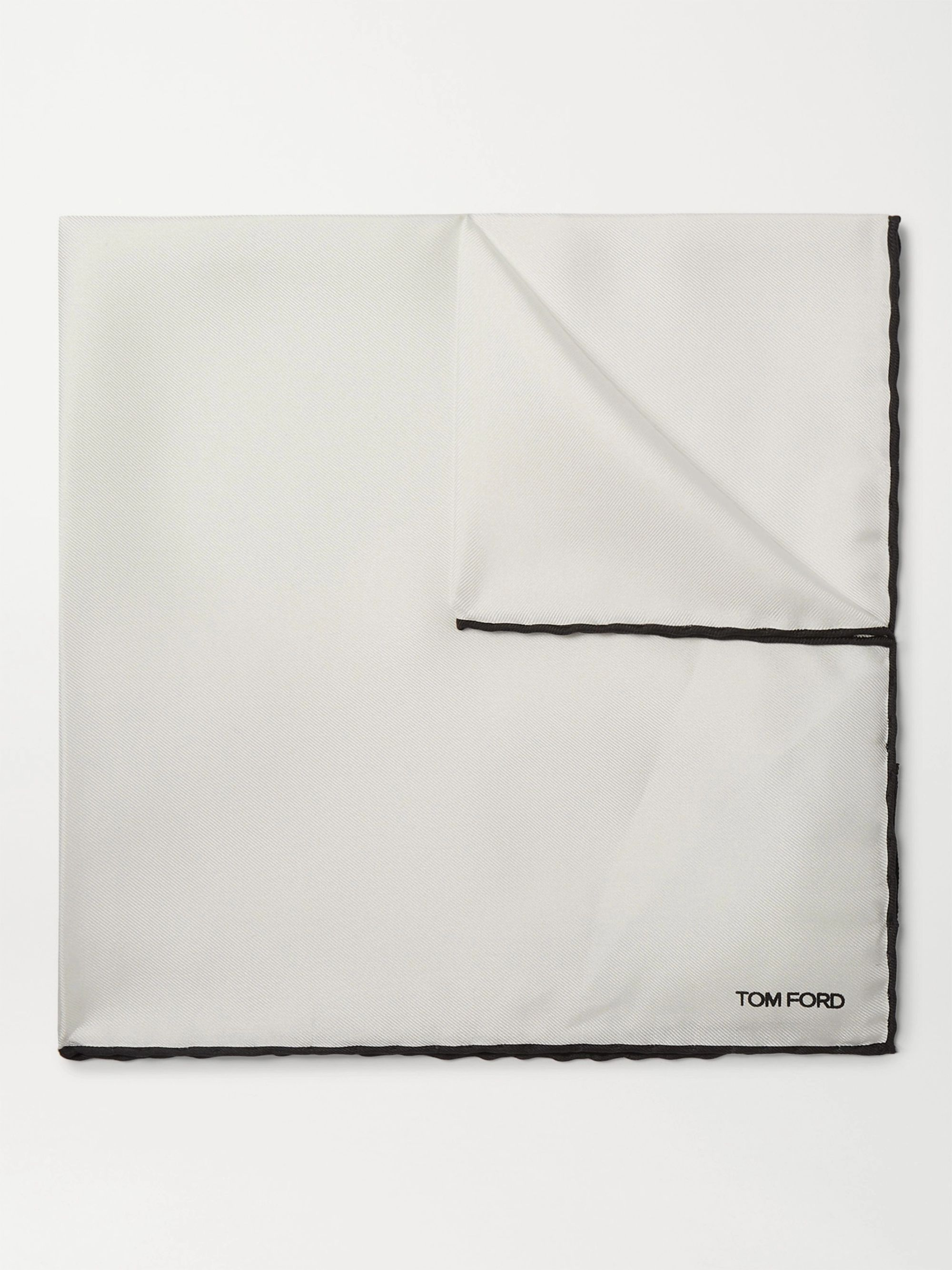 TOM FORD Logo-Embroidered Contrast-Tipped Silk-Twill Pocket Square