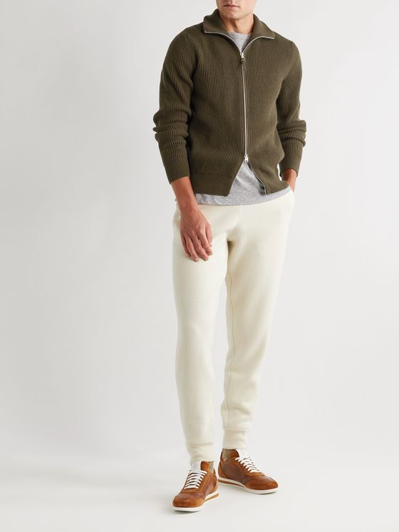 TOM FORD Suede-Trimmed Ribbed Cashmere Cardigan