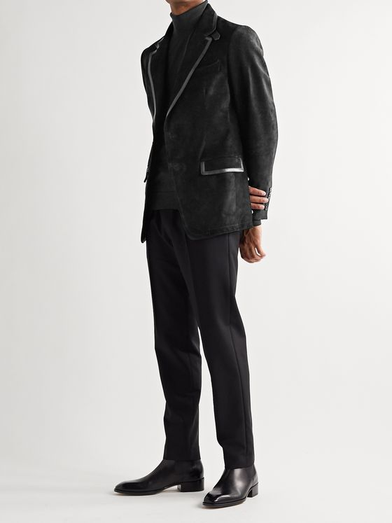 TOM FORD Slim-Fit Leather-Trimmed Suede Blazer