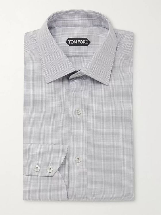 TOM FORD Slim-Fit Print of Wales Checked Cotton Shirt