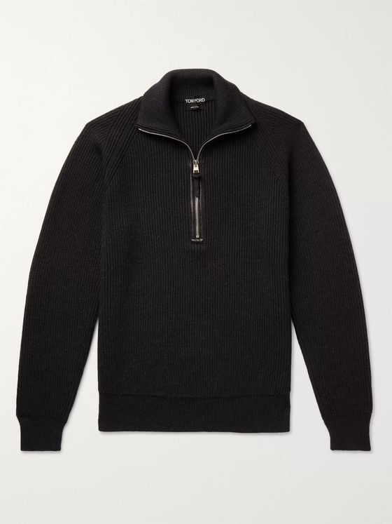 TOM FORD Slim-Fit Leather-Trimmed Ribbed Merino Wool Half-Zip Sweater