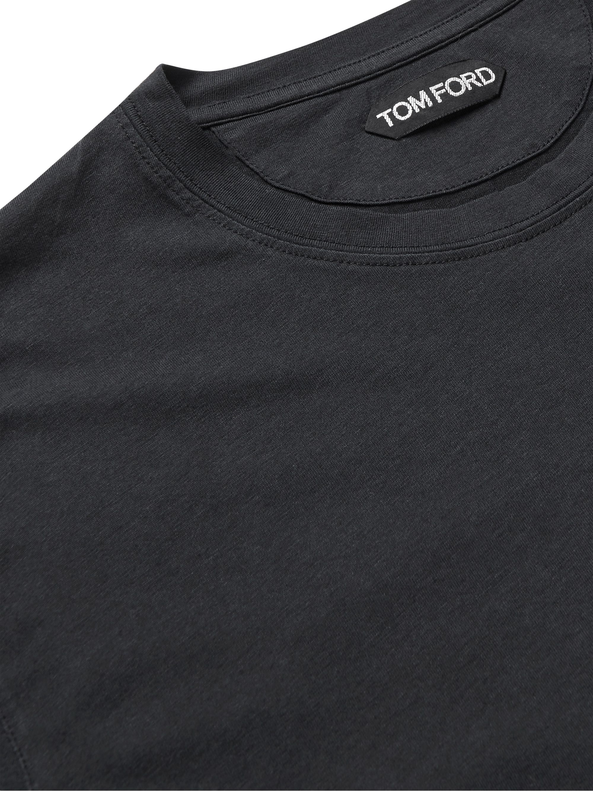 Black Lyocell And Cotton-blend T-shirt | Tom Ford
