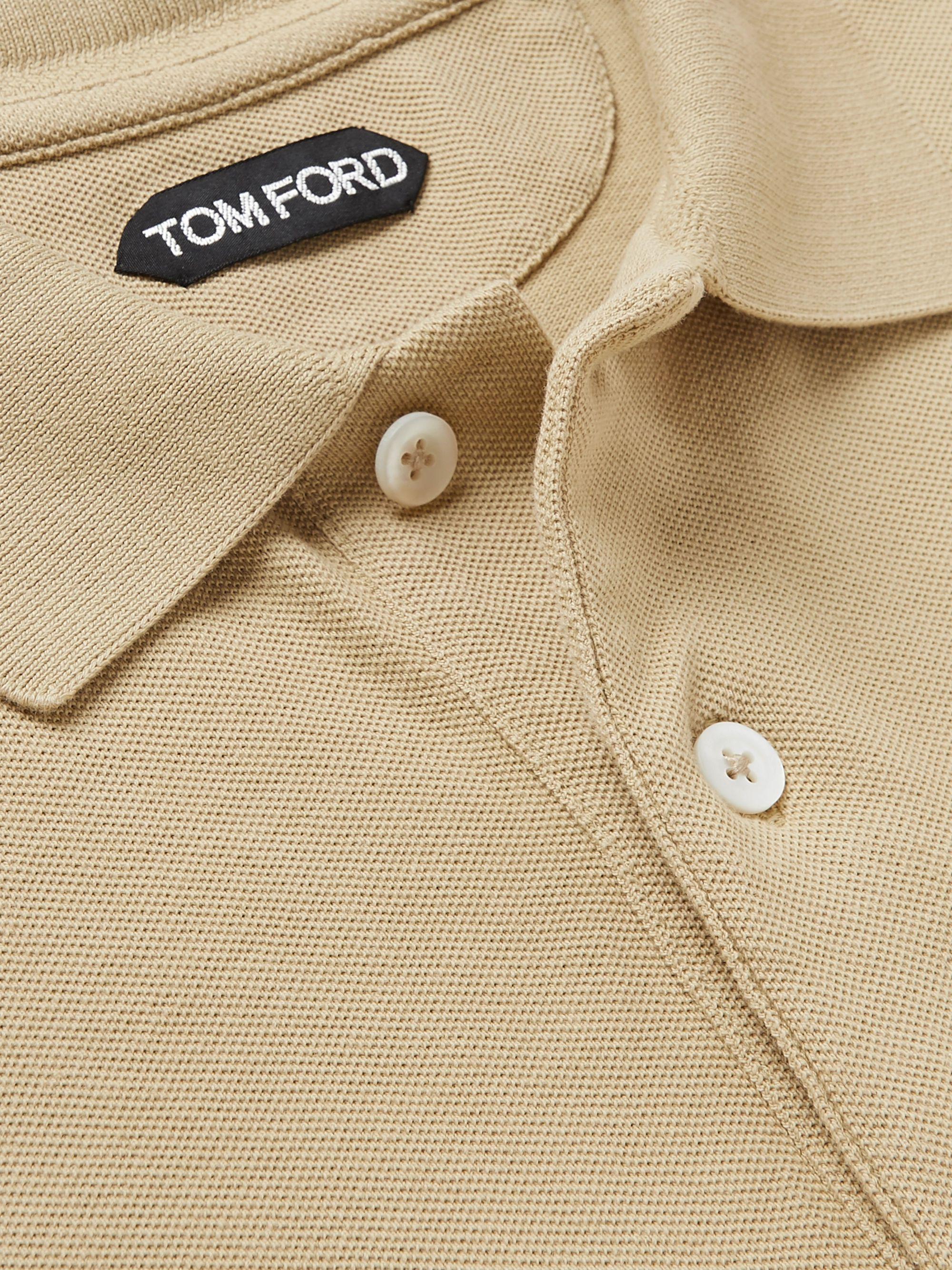 Beige Slim-fit Cotton-piqué Polo Shirt | Tom Ford