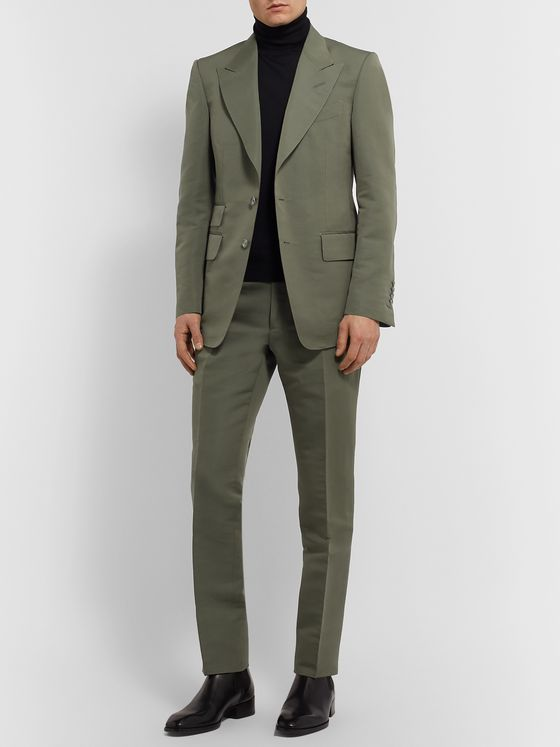 TOM FORD Shelton Slim-Fit Cotton and Silk-Blend Suit Trousers