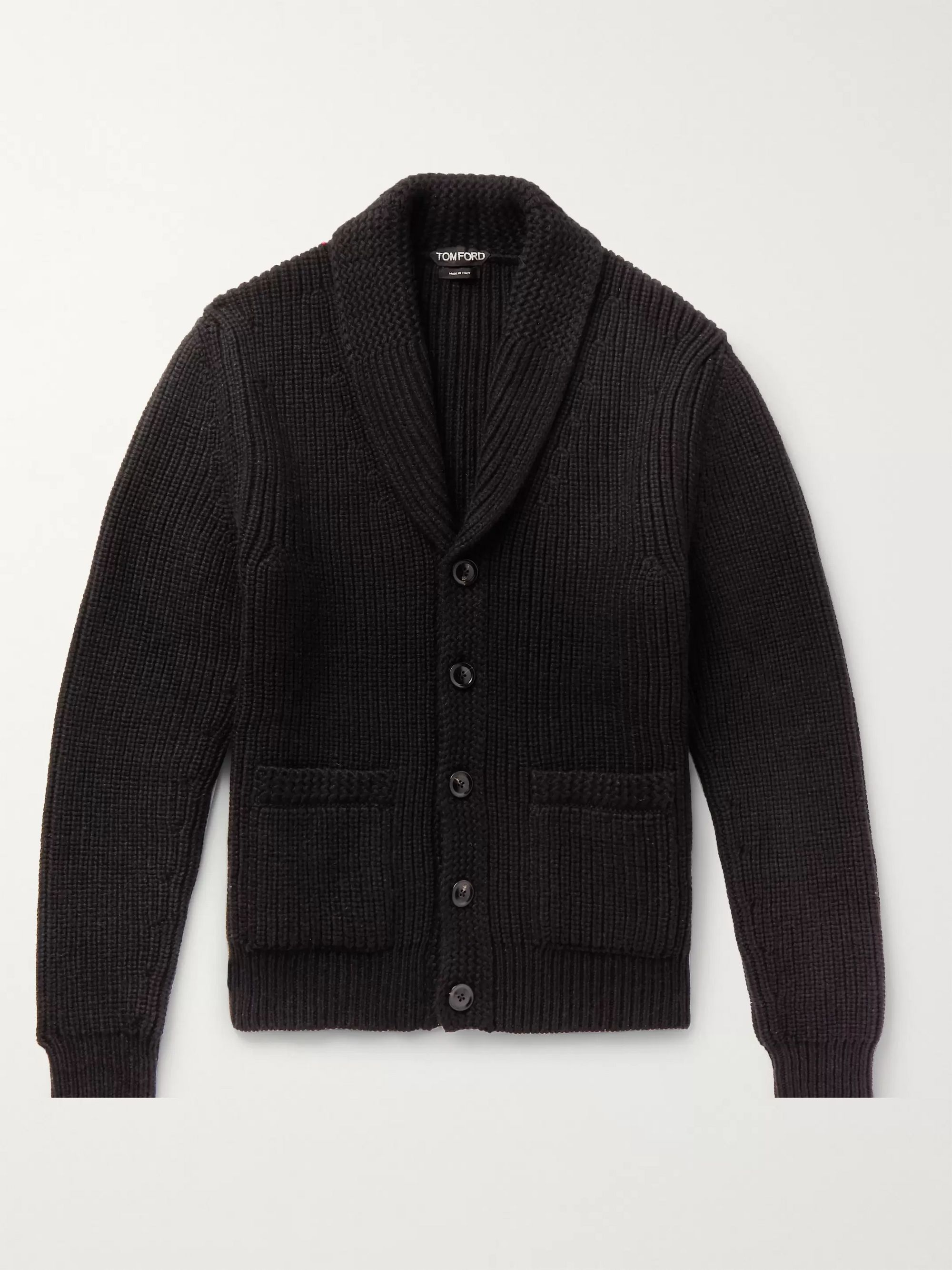 TOM FORD Shawl-Collar Cable-Knit Cashmere and Mohair-Blend Cardigan