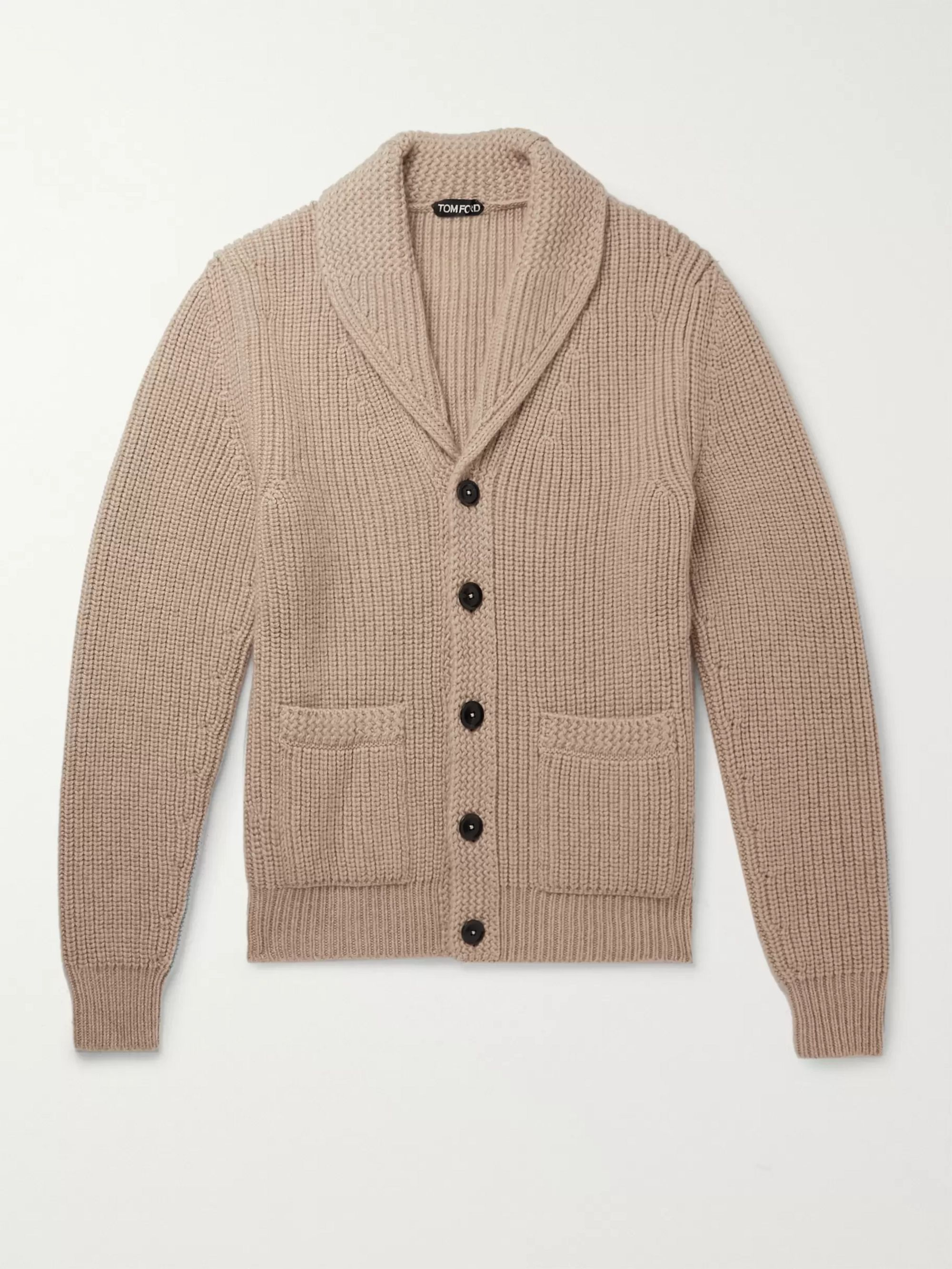 Shawl Collar Cable Knit Cashmere and Mohair Blend Cardigan