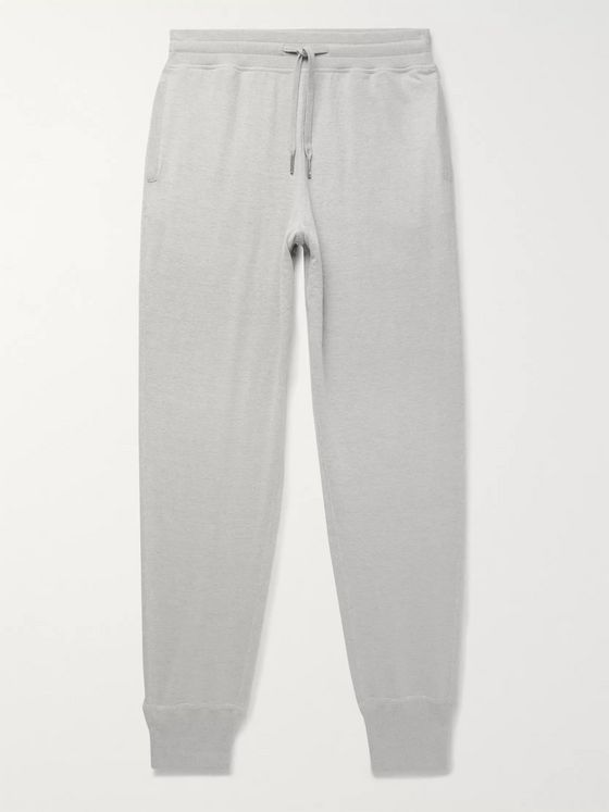 TOM FORD Tapered Melangé Cotton, Silk and Cashmere-Blend Sweatpants