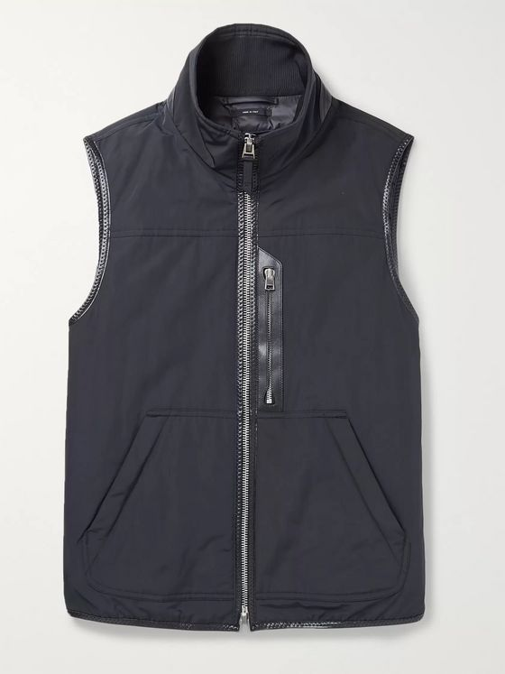 TOM FORD Leather-Trimmed Padded Shell Down Gilet