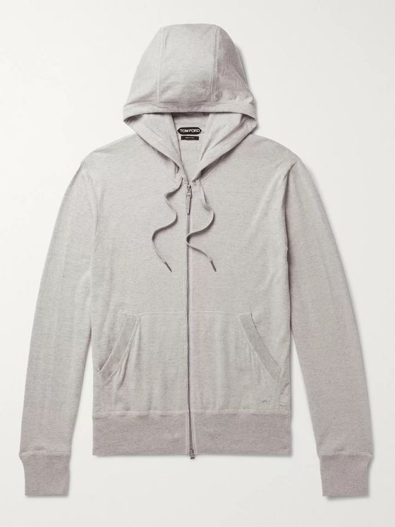 TOM FORD Mélange Cotton, Silk and Cashmere-Blend Zip-Up Hoodie