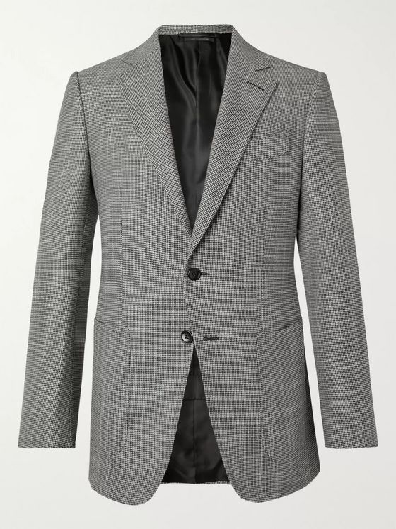 TOM FORD O'Connor Slim-Fit Houndstooth Wool, Mohair and Silk-Blend Blazer