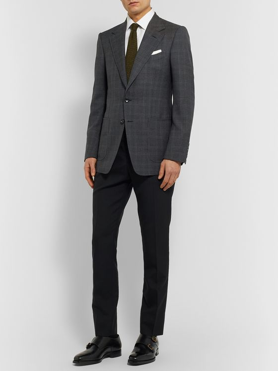 TOM FORD Shelton Slim-Fit Prince of Wales Checked Wool and Silk-Blend Blazer
