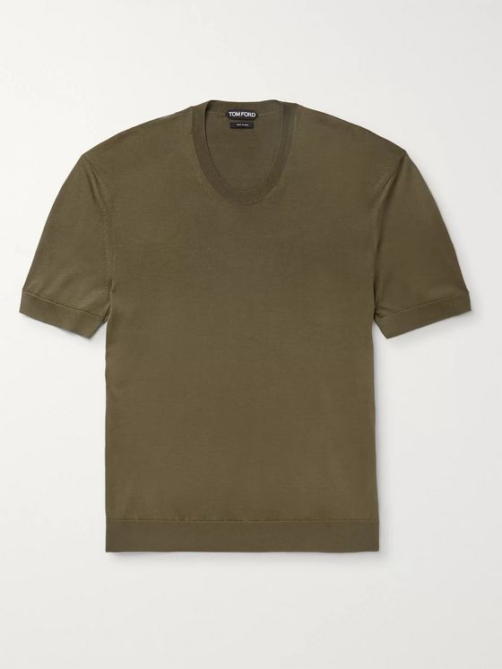 TOM FORD Slim-Fit Knitted Silk T-Shirt