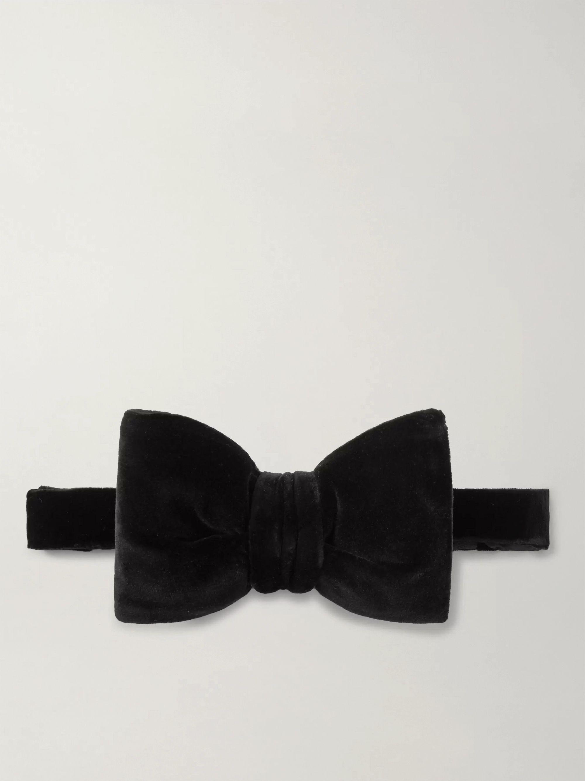 톰 포드 넥타이 Tom Ford Pre-Tied Cotton-Velvet Bow Tie,Black