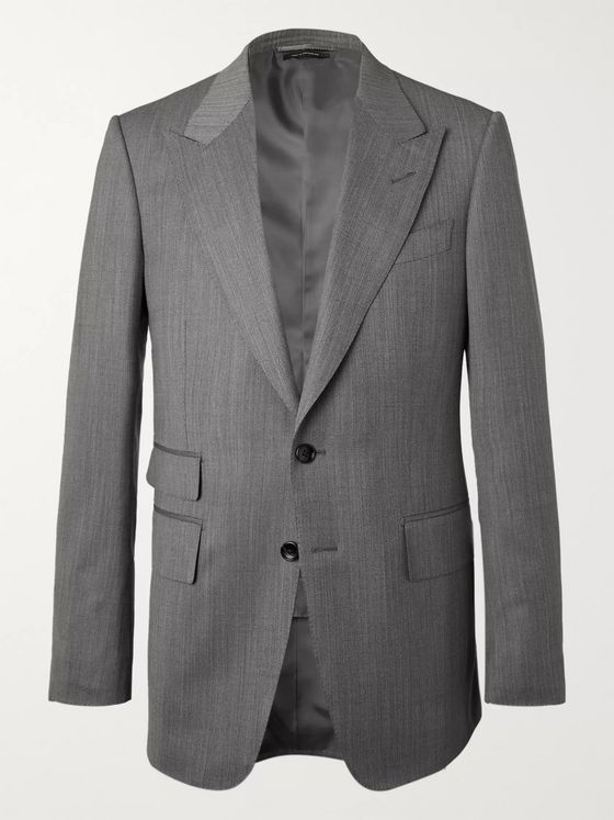 TOM FORD Shelton Slim-Fit Herringbone Wool and Silk-Blend Suit Jacket