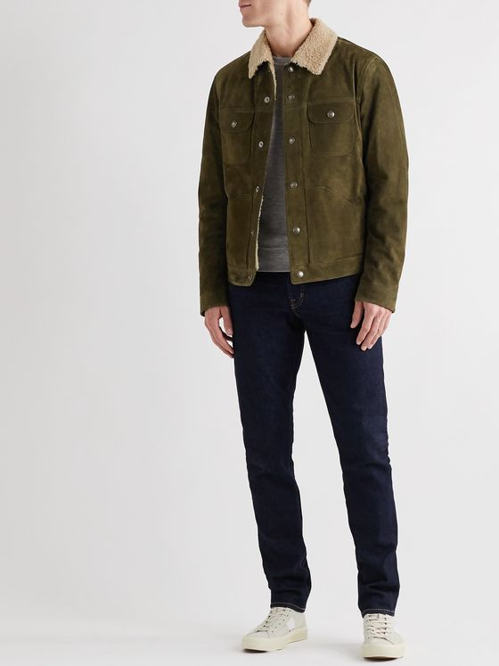 TOM FORD Shearling-Trimmed Suede Jacket