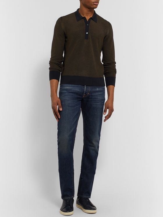 TOM FORD Slim-Fit Textured Silk and Cashmere-Blend Polo Shirt
