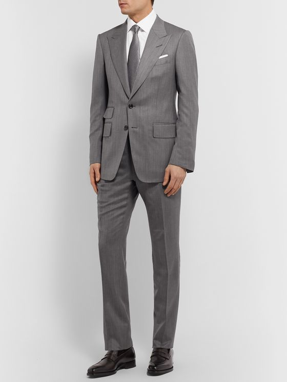 TOM FORD Slim-Fit Herringbone Wool and Silk-Blend Suit Trousers