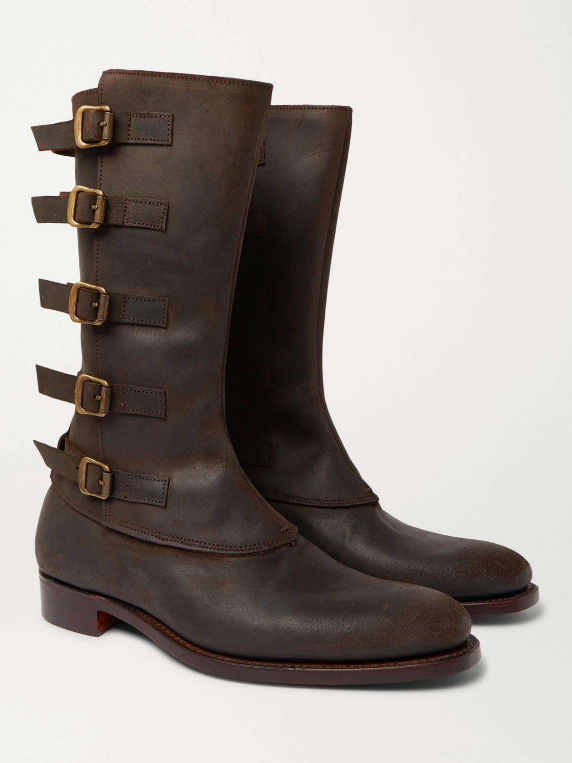 Kingsman George Cleverley Vaughn Buckled Nubuck Boots In Brown