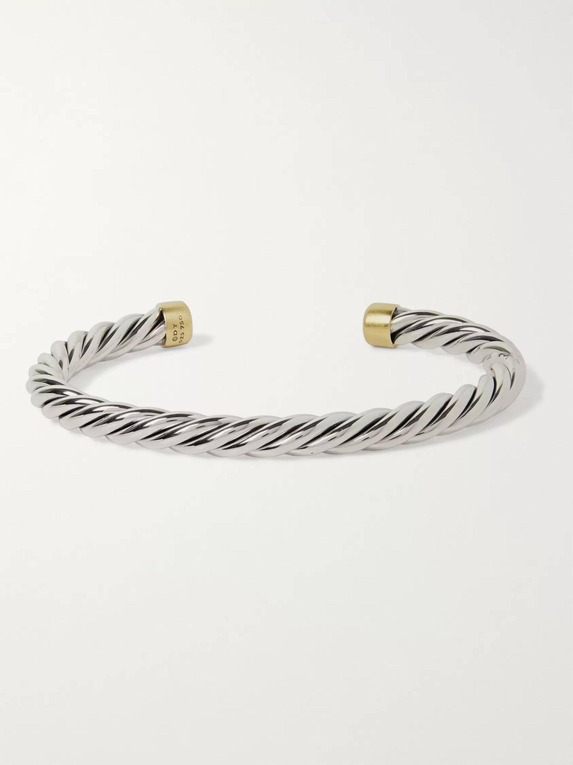David Yurman Cable Sterling Silver and 18-Karat Gold Cuff