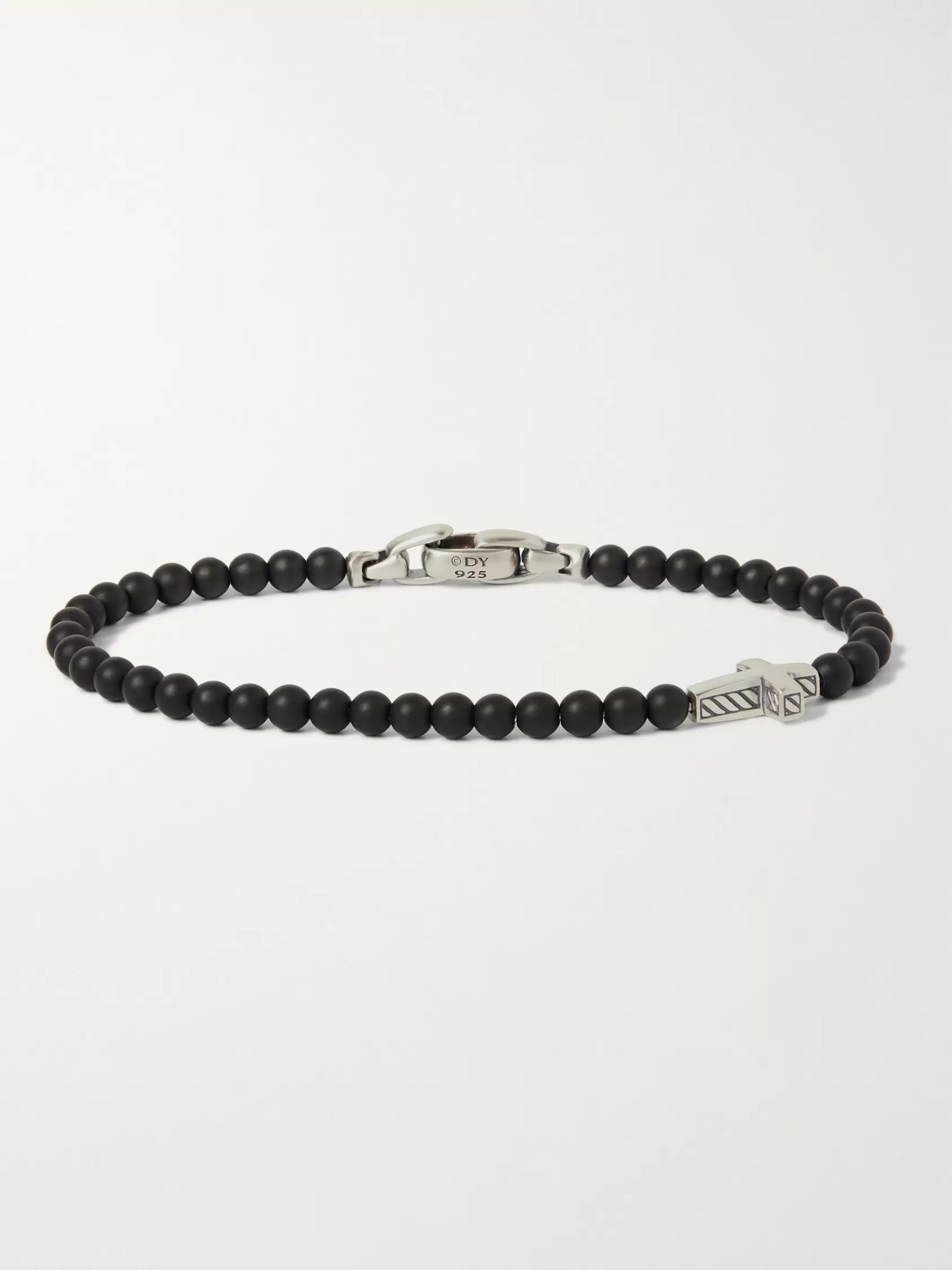David Yurman Onyx Sterling Silver Beaded Bracelet