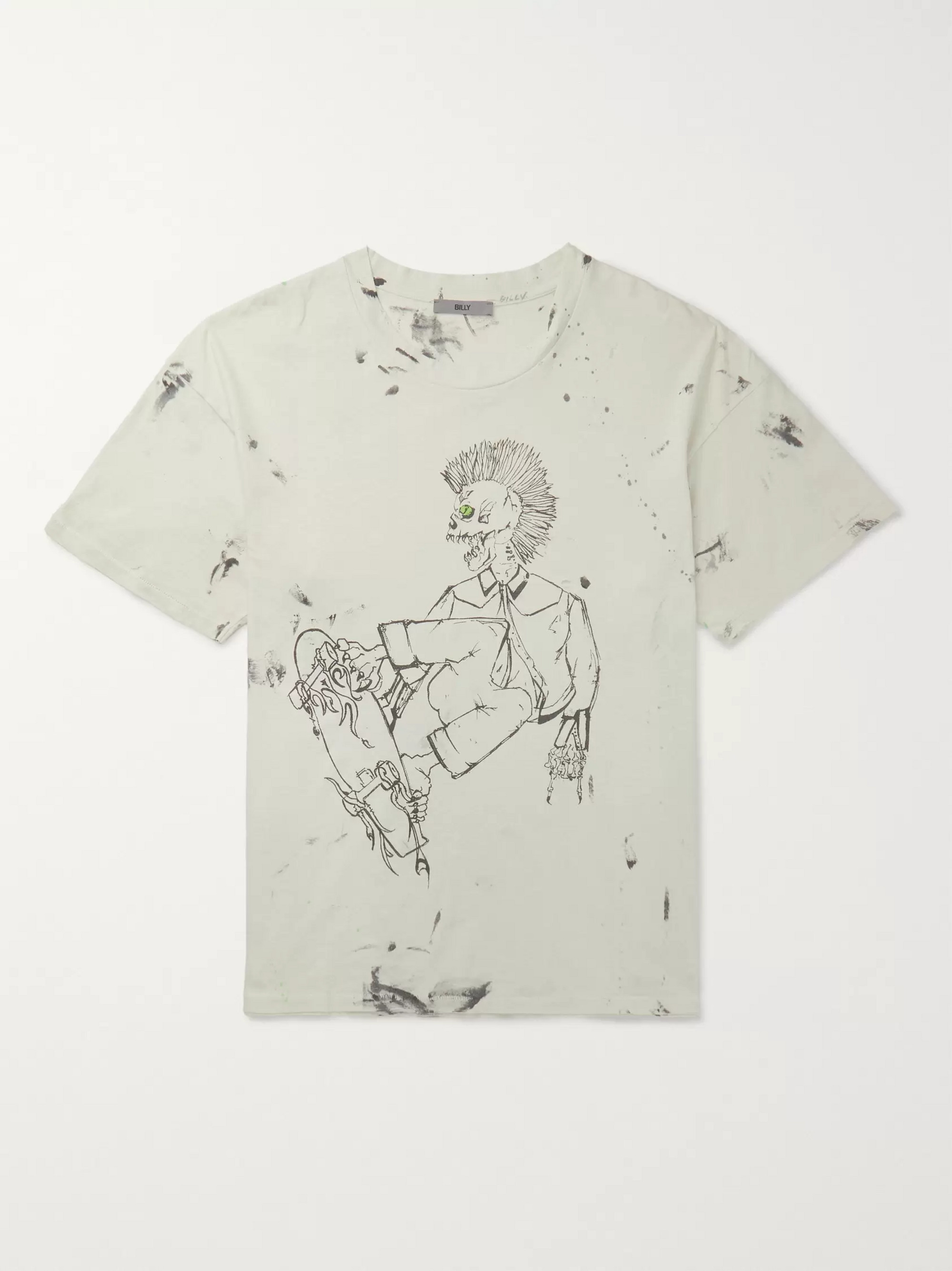 BILLY Eastlake Distressed Printed Cotton-Jersey T-Shirt