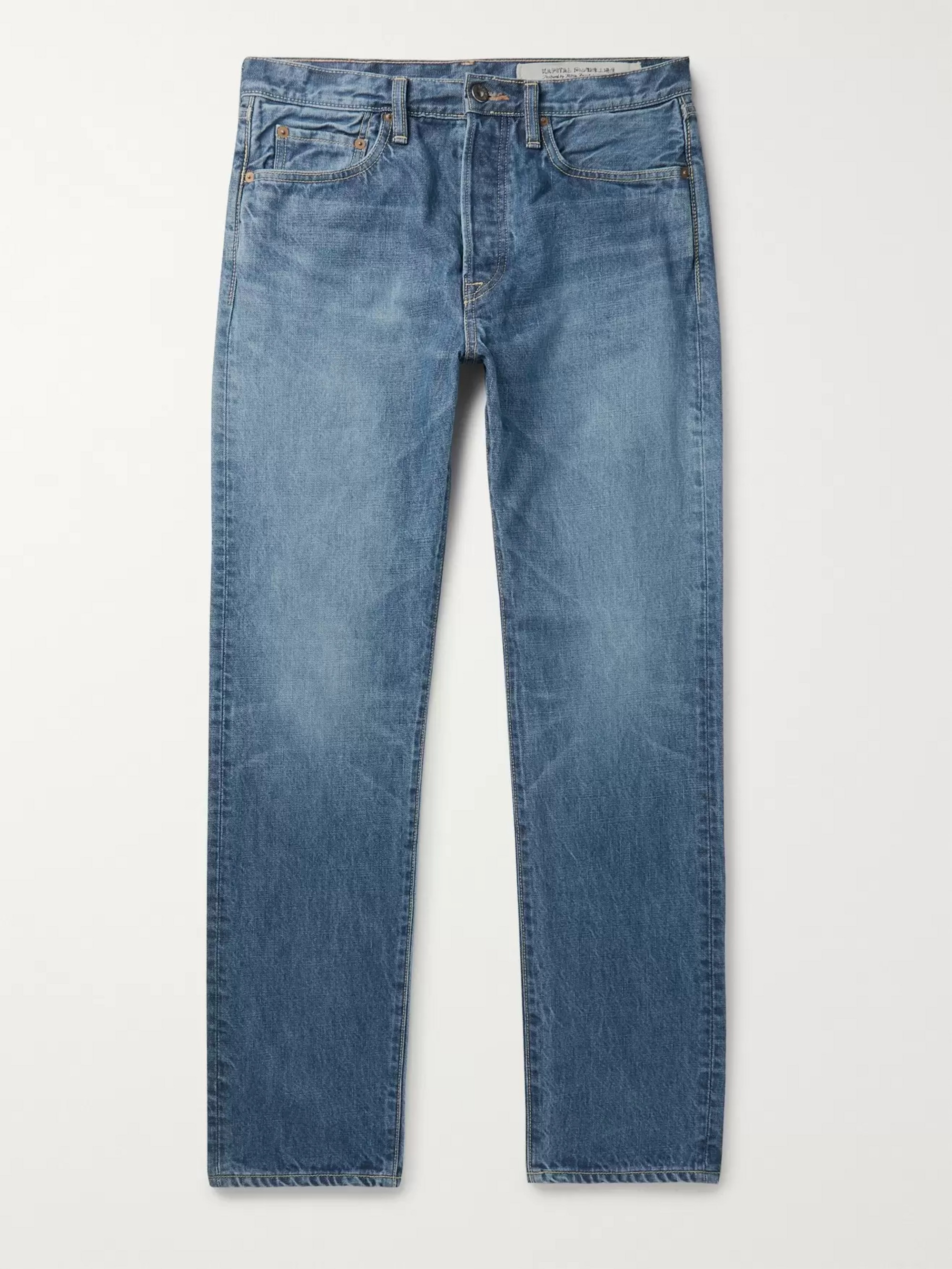 KAPITAL Slim-Fit Embroidered Denim Jeans