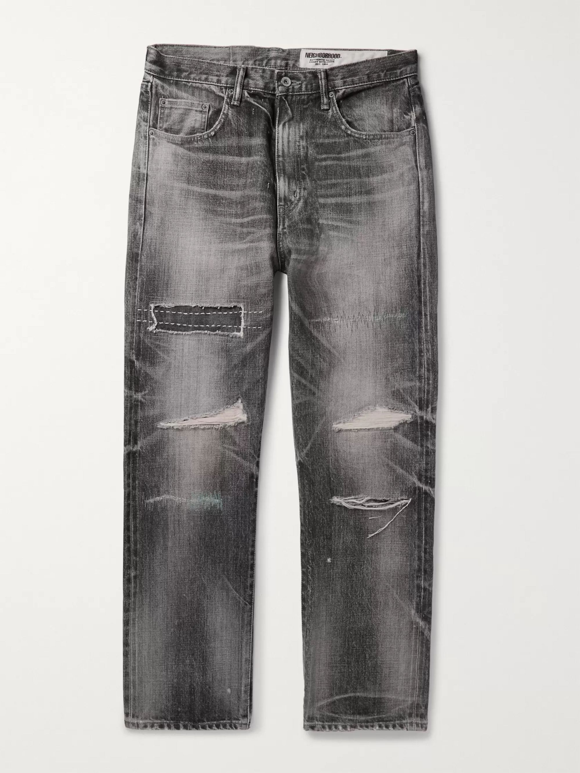 Neighborhood Claw Mod Savage Slim-Fit Distressed Embroidered Denim Jeans