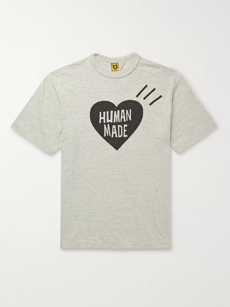 Human Made Logo-Print Mélange Cotton-Jersey T-Shirt