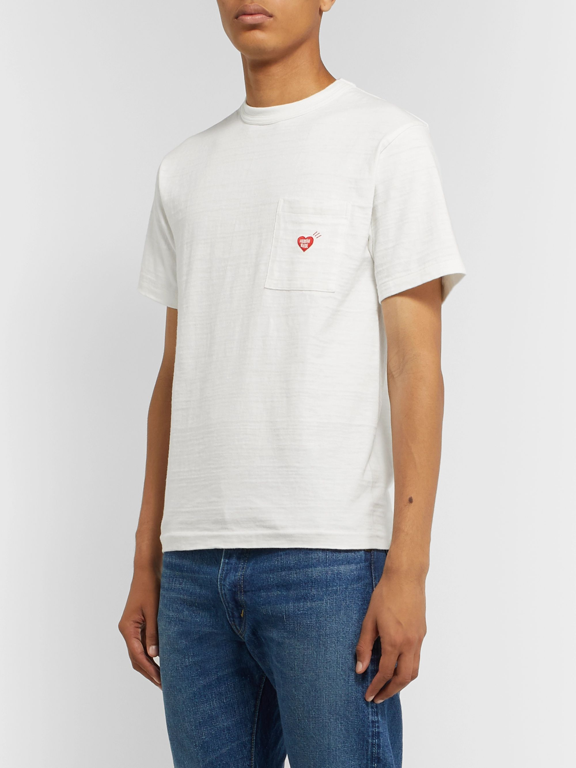 Human Made Slim-Fit Logo-Embroidered Printed Slub Cotton-Jersey T-Shirt