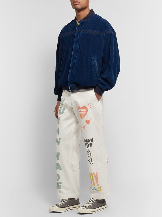 Human Made Cropped Logo-Print Cotton-Twill Trousers