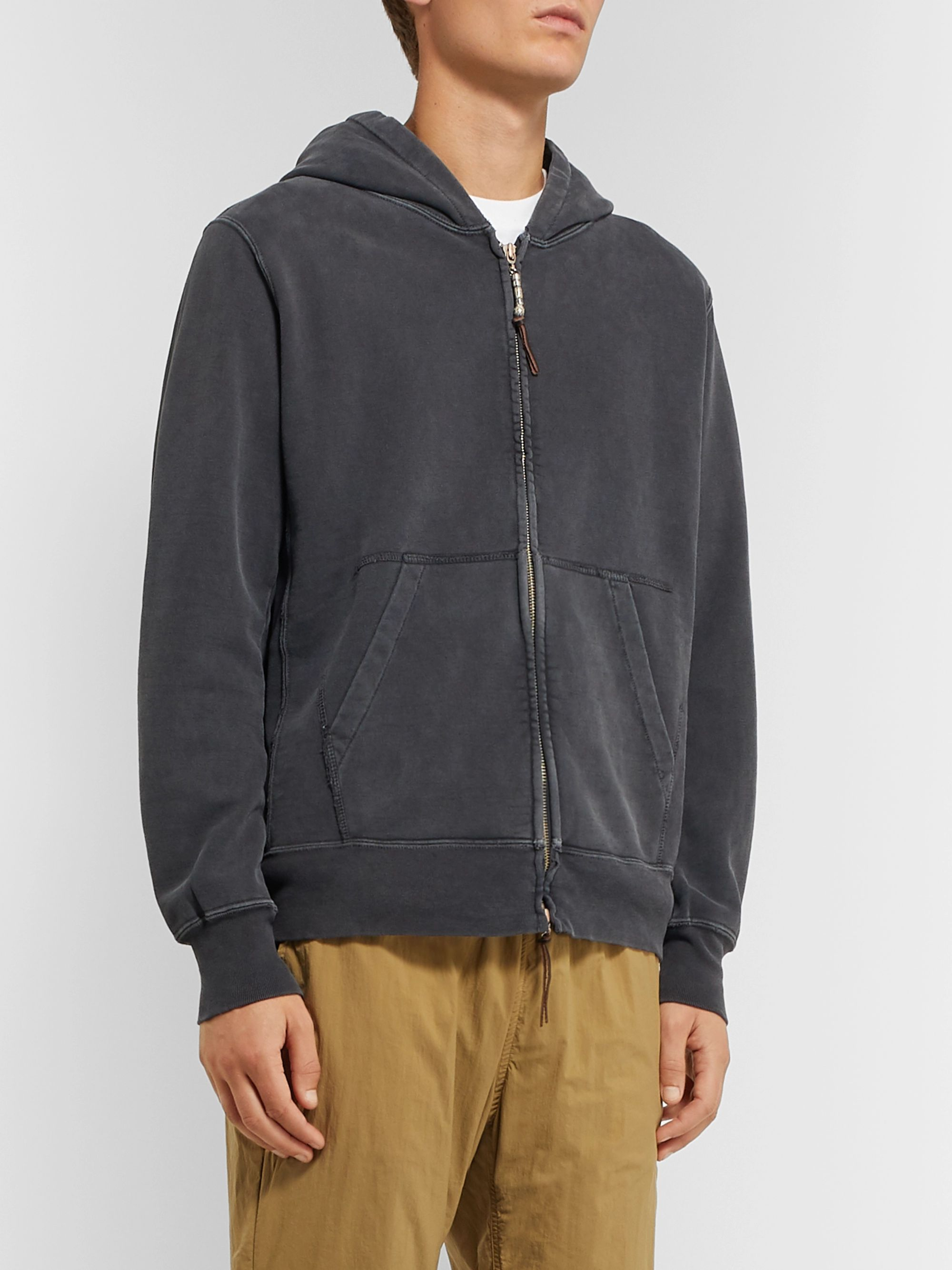 Remi Relief Cotton-Jersey Zip-Up Hoodie