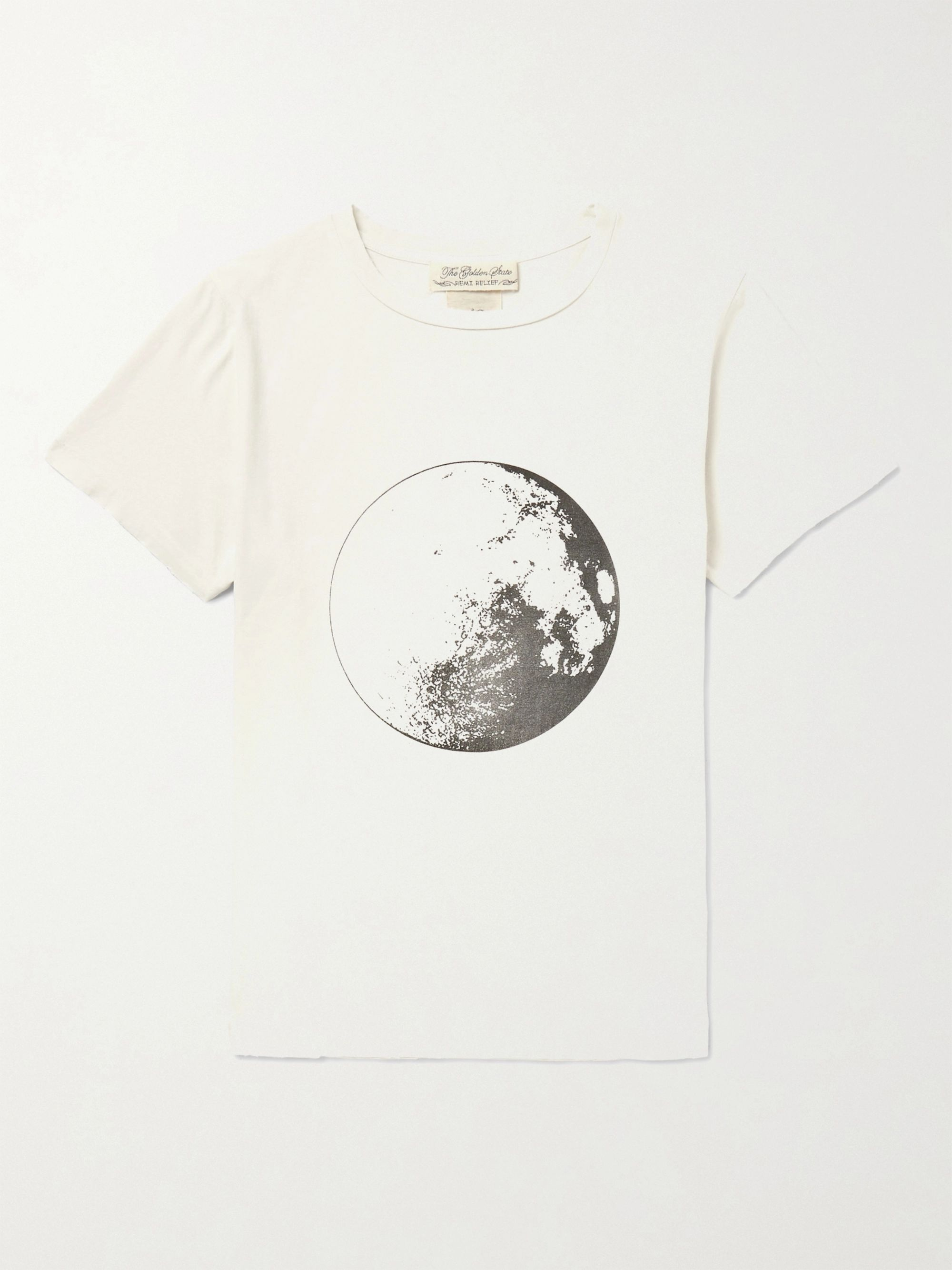 Remi Relief Slim-Fit Distressed Printed Cotton-Jersey T-Shirt