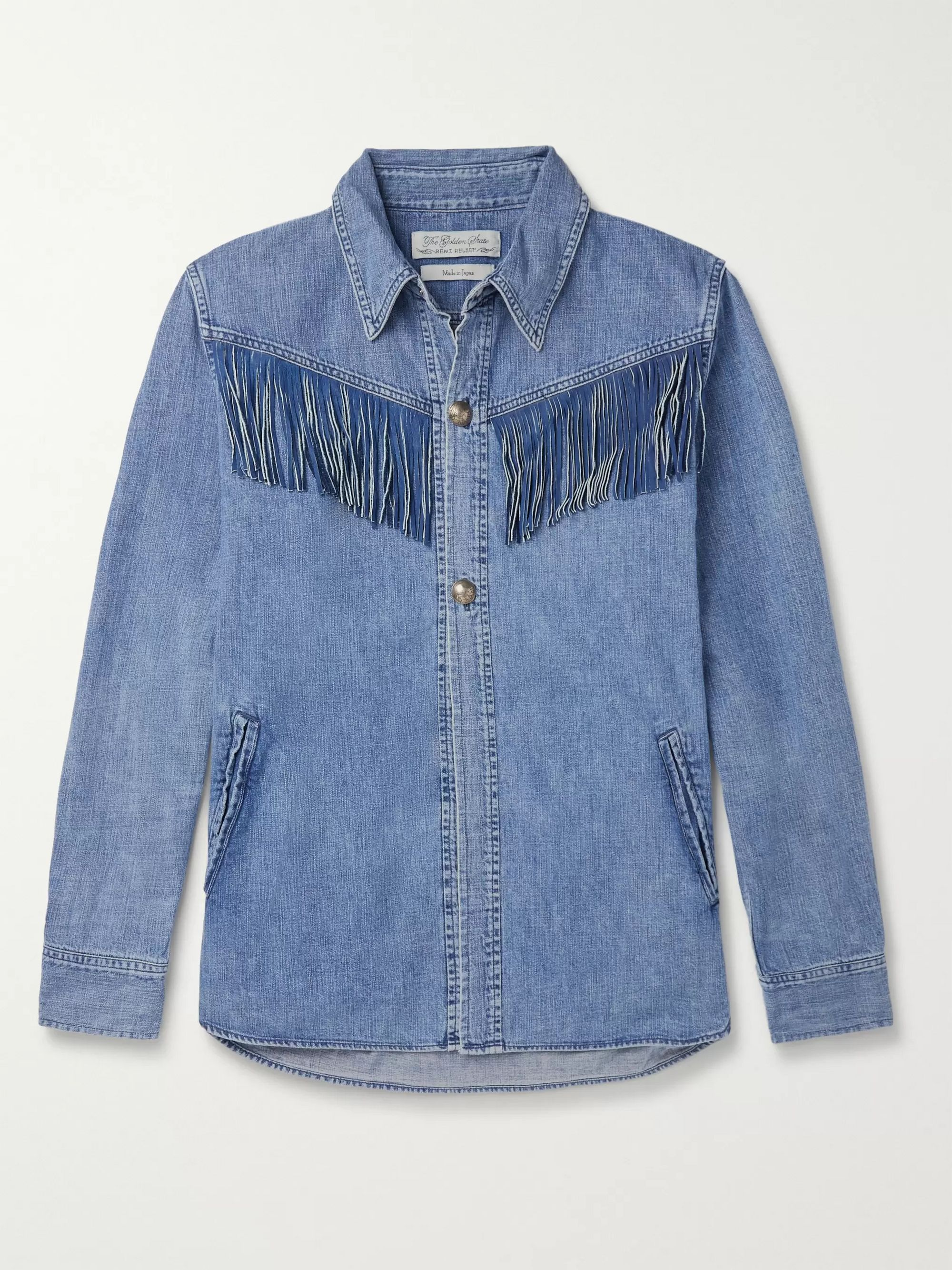 Suede Trimmed Denim Western Shirt by Remi Relief