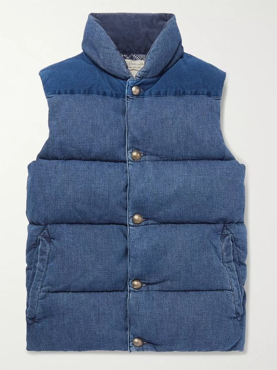 Remi Relief Slim-Fit Corduroy-Panelled Quilted Denim Down Gilet