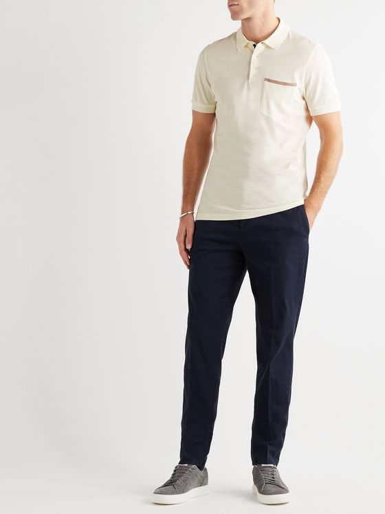 BRUNELLO CUCINELLI Slim-Fit Grosgrain-Trimmed Cotton-Piqué Polo Shirt
