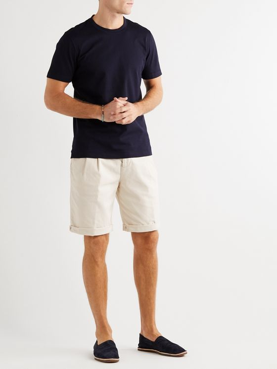 BRUNELLO CUCINELLI Pleated Stretch-Cotton Twill Drawstring Shorts