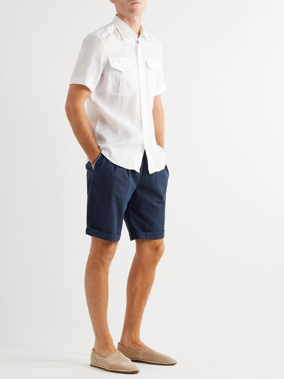 BRUNELLO CUCINELLI Pleated Checked Stretch-Cotton Twill Drawstring Shorts