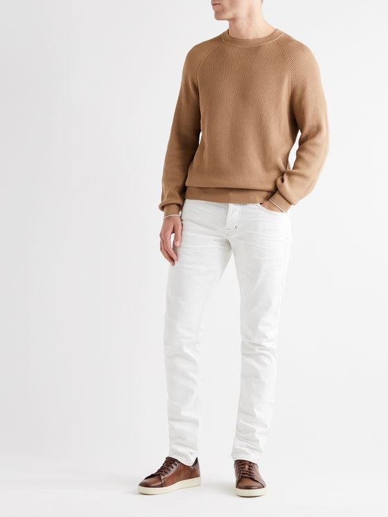 BRUNELLO CUCINELLI Contrast-Tipped Ribbed Cotton Sweater