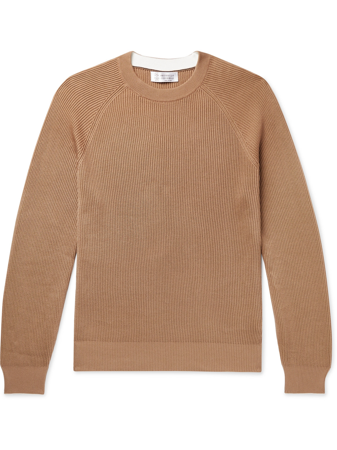 brunello cucinelli - contrast-tipped ribbed cotton sweater - men - neutrals - it 46