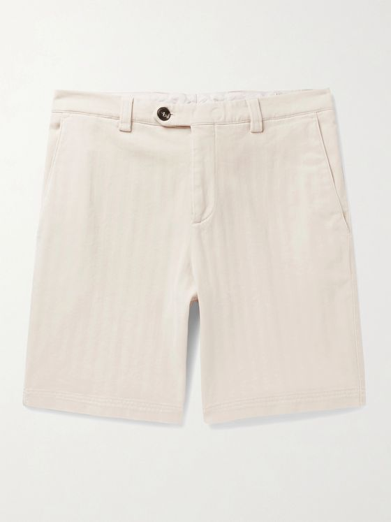BRUNELLO CUCINELLI Herringbone Stretch-Cotton Shorts