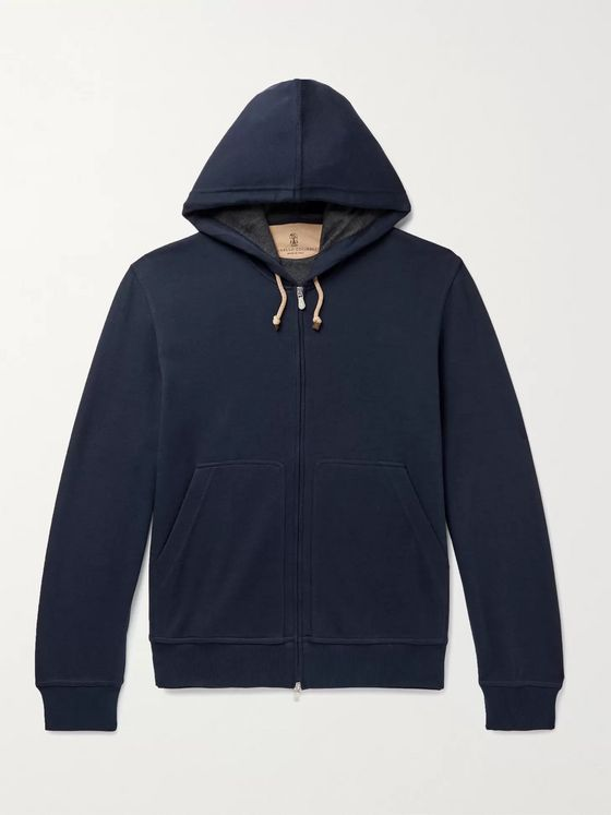 BRUNELLO CUCINELLI Double-Faced Cotton-Blend Jersey Zip-Up Hoodie